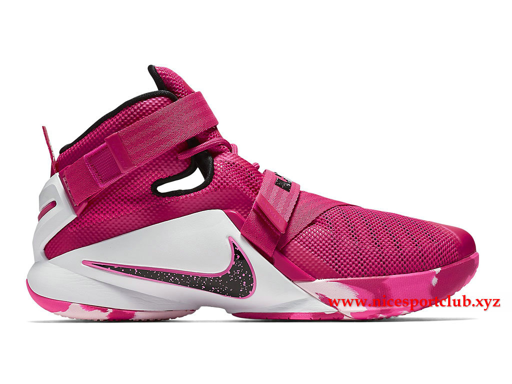3340eb157496 ... Chaussures De BasketBall Homme Nike Zoom LeBron Soldier 9 EP Prix Pas  Cher Rose Blanc .