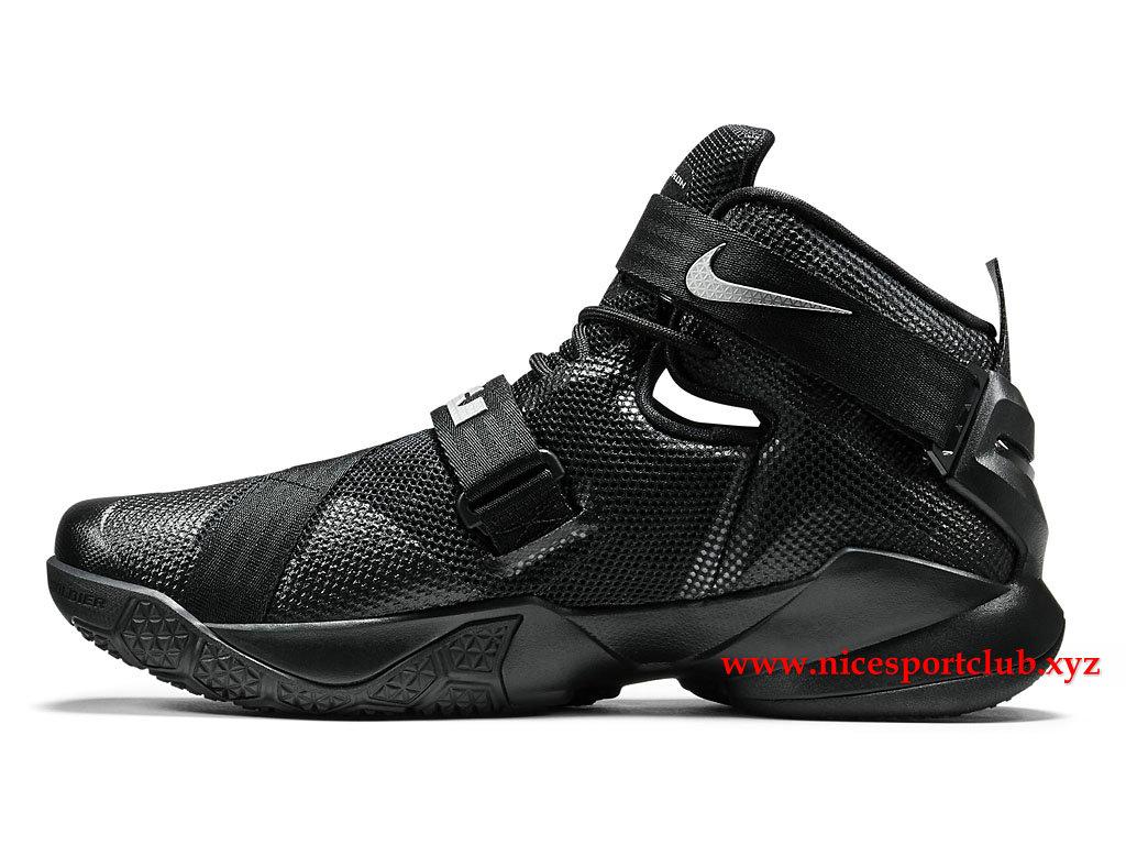 4a29af2629f6 ... new style chaussures de basketball homme nike zoom lebron soldier 9  prix pas cher noir argent ...