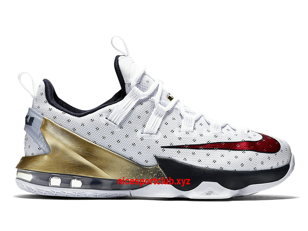 Chaussures De BasketBall Nike LeBron 13 Low Olympic Prix Homme Pas Cher BlancBleuOrRouge