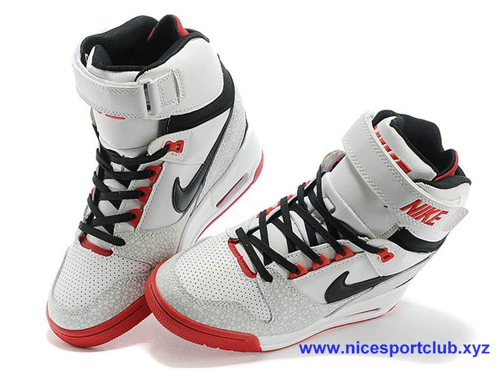 the latest 14b6f bc850 Chaussures Femme Nike Wmns Air Revolution Sky Hi Blanc Noir Rouge 599410-  ...