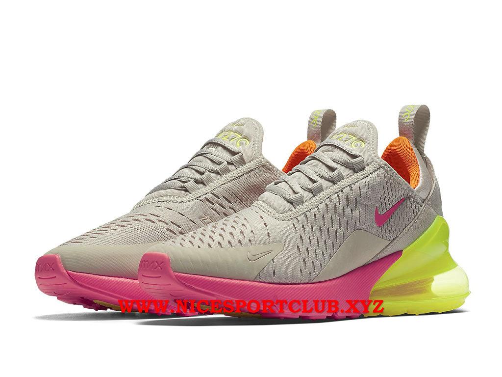 Chaussures Nike Air Max 270 Femme Pas Cher Prix Beige BlancRoseVert AH6789_005