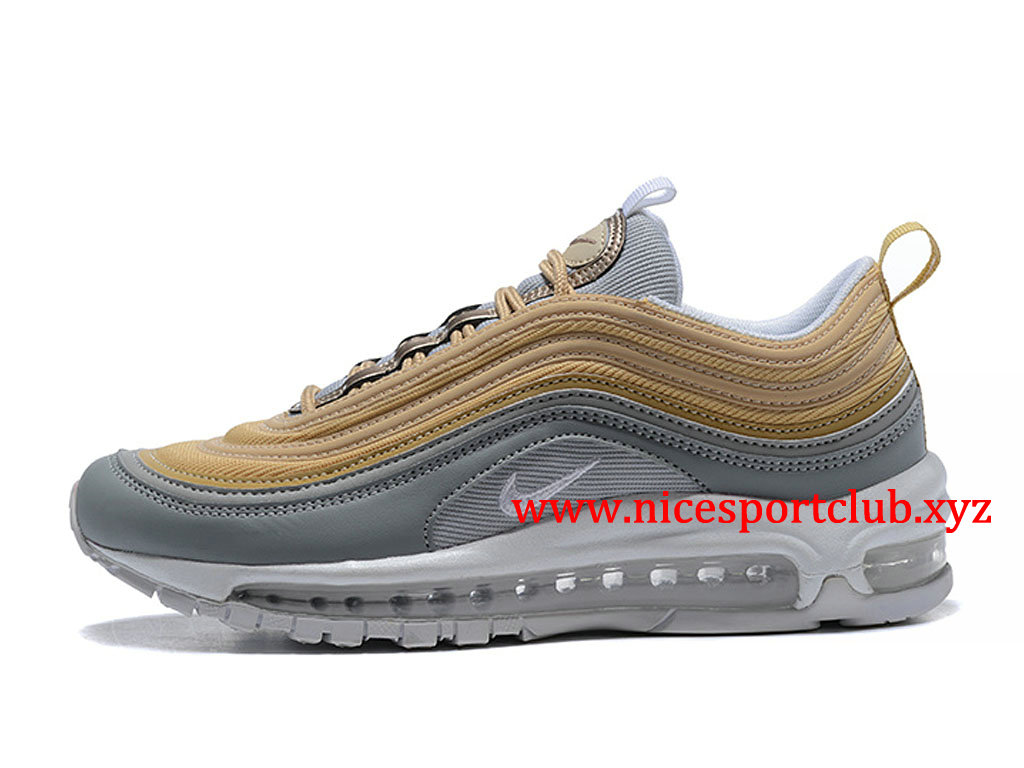 bd17ea1150479 Chaussures Nike Air Max 97 Femme Pas Cher Prix Gris Or Blanc 312834 ID007  ...