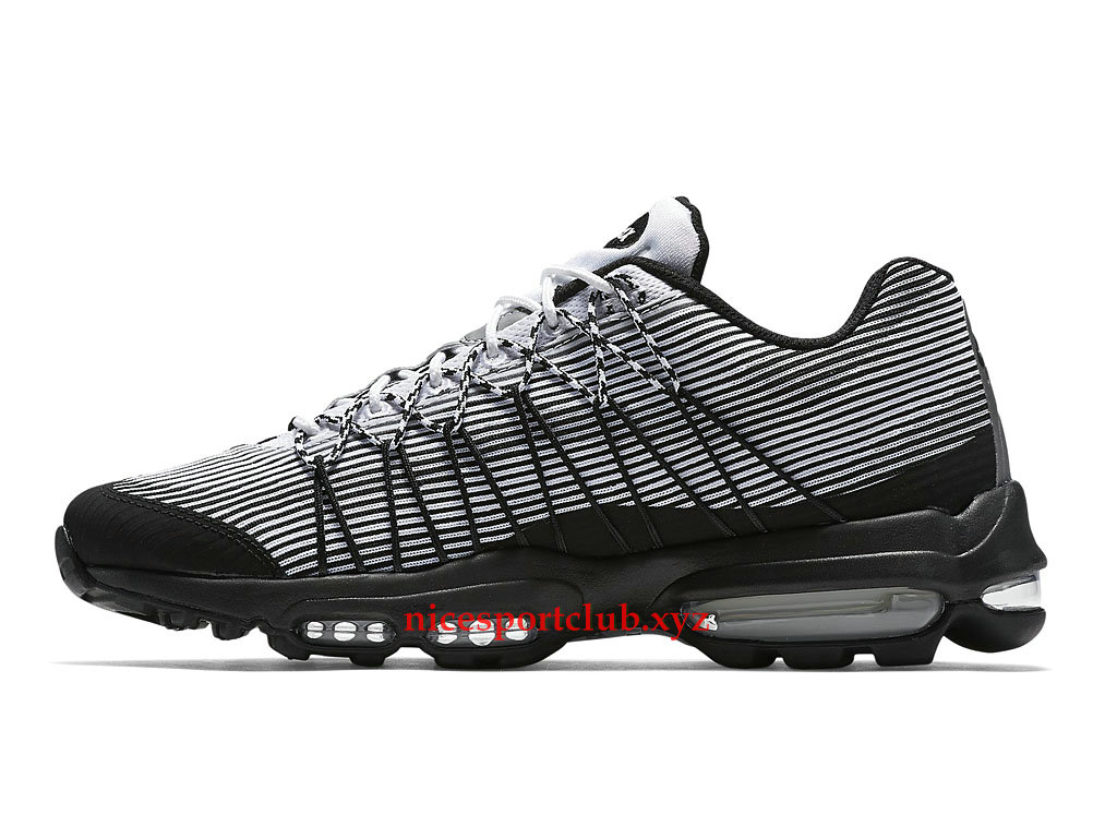 new concept 73374 154f7 ... Chaussures Running Nike Air Max 95 Ultra Jacquard Prix Homme Pas Cher  Blanc Noir 749771 101 ...