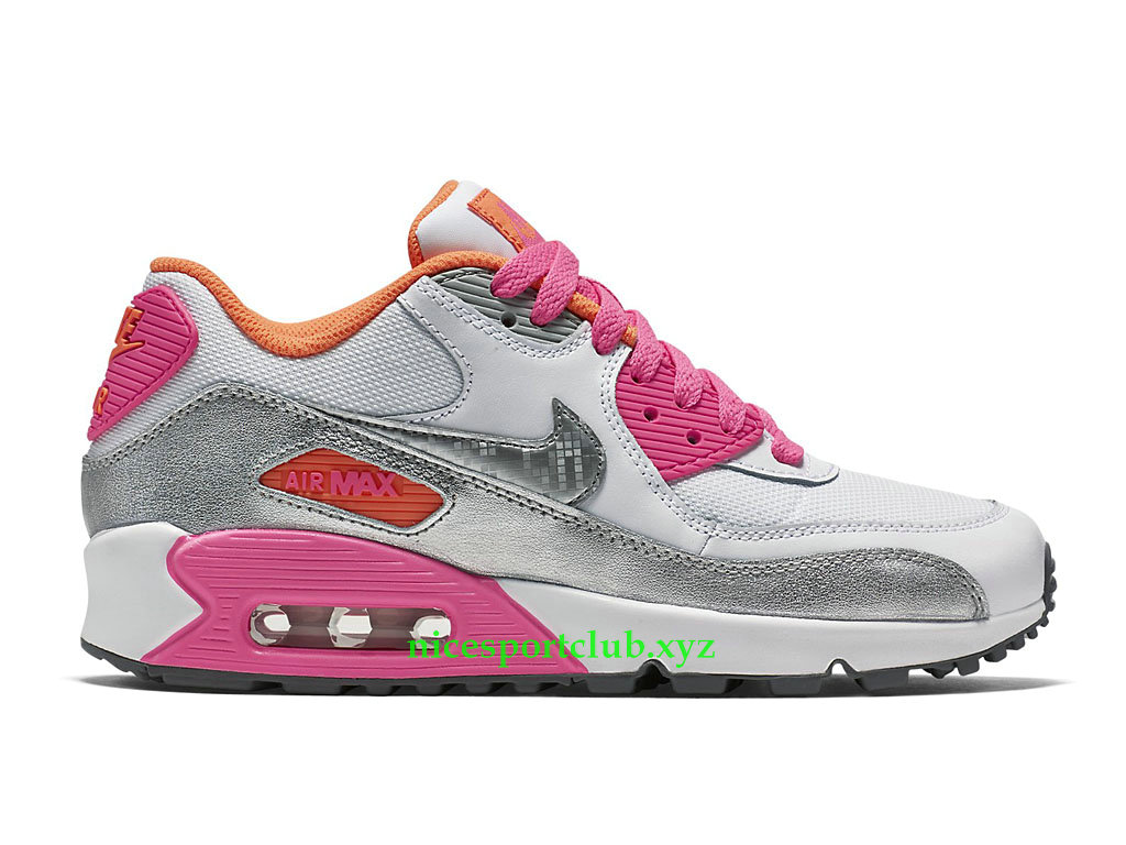 Nike Air Max 90 Prix Chaussures Running Pas Cher Pour Femme ArgentBlancRose 724855_101