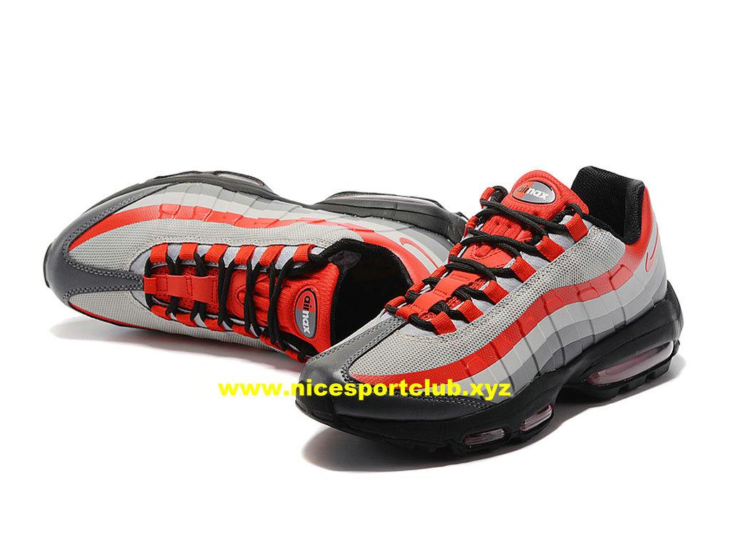 best service a4c60 4672f ... Nike Air Max 95 Ultra Essential Prix Pas Cher Chaussures Pour Homme  Rouge Gris  ...