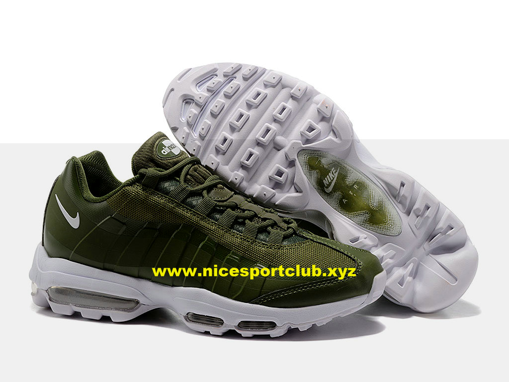 Nike Air Max 95 Ultra Essential Prix Pas Cher Chaussures Pour Homme VertBlanc 857910 A001